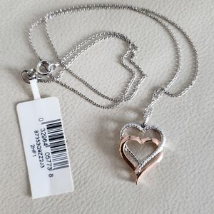 NWT 🏷Rose Gold And Silver Heart Necklace